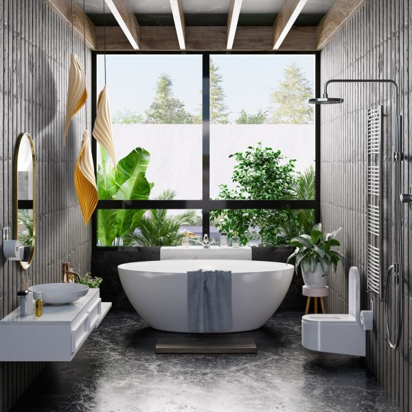 Modern Bathroom interior design on dark color wall.